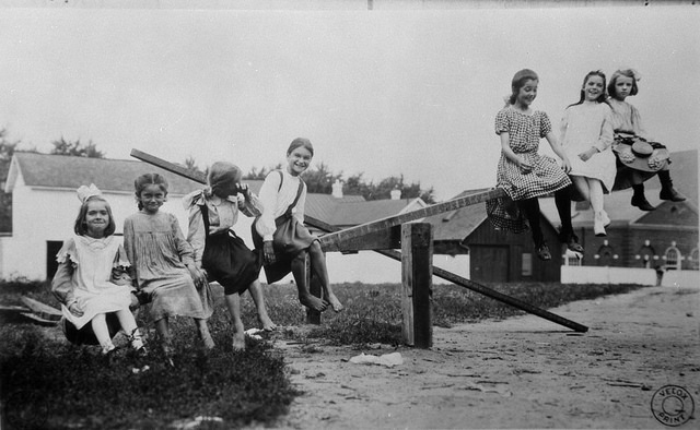 7 girls on a see-saw